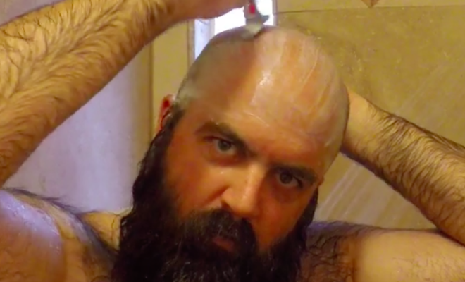 how to shave your head in the shower without a mirror
